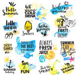 Set of hand drawn watercolor summer signs Royalty Free Stock Image