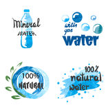 Set of hand drawn watercolor symbols and signs of pure water Stock Images