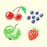 Set of hand drawn wax crayon fun color juicy fruits. Hand painted strawberry, apple, blueberries, cherries, currant. Stock Images