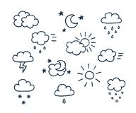 Set of hand-drawn weather icons Royalty Free Stock Photography