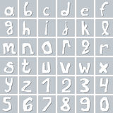 Set of hand drawn white lowercase alphabet letters Royalty Free Stock Photo