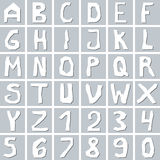 Set of hand drawn white uppercase  alphabet Royalty Free Stock Images