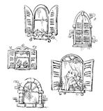 Set of hand drawn windows, vector illustration Stock Photography