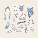 Set of hand drawn winter accessories. Frosty Stock Photo