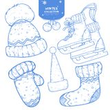Set of hand drawn winter holiday sketches royalty free illustration