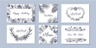 Set of hand drawn winter seasonal backgrounds. Rustic romantic compositions for card, invitation, flyer Stock Image
