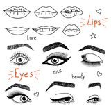 Set of hand drawn womens eyes and lips. Black and white doodle illustration stock illustration