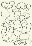 Set of hand drawn word bubbles for text insertion Royalty Free Stock Photography