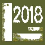 Pine tree banners 2018 new year. A set of hand-drawn wreaths of a Christmas tree, pine tree for decorating banner of vertical and horizontal, Painted in the Stock Photos