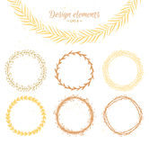 Set of hand drawn wreaths. Design elements  for invitations Stock Photo