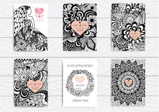 Set of hand drawn zentangle on A4 template for print. Wedding card design template. Stock Images