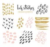Set of hand-drawnstylish hipster strokes. stock illustration