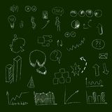 Set of hand drown icons, on chalkboard, for creating business concepts and illustrating ideas. Illustration Royalty Free Stock Photos