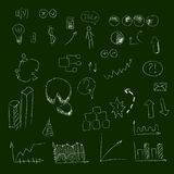 Set of hand drown icons, on chalkboard, for creating business concepts and illustrating ideas Royalty Free Stock Photo