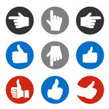 Set of hand gesture, button - best choice symbol, next, more sign Stock Photo