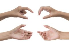 Set of hand gesture and sign collection isolated on white backgr Royalty Free Stock Photos