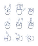 A set of hand gestures. Stock Image