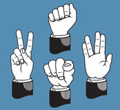 Set of hand gestures based on classic printer's pointers Stock Images