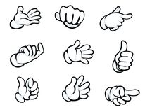 Set of hand gestures. In cartoon style for comics design Royalty Free Stock Photos