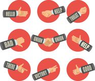 Set of hand gestures. Set of flat icons is hand gestures show various symbols Royalty Free Stock Image