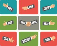Set of hand gestures. Set of flat icons is hand gestures show various symbols Royalty Free Stock Photo
