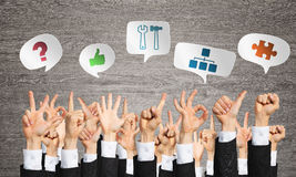 Set of hand gestures and icons Stock Image