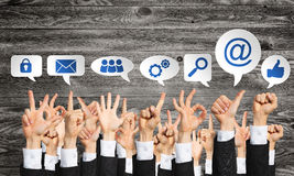Set of hand gestures and icons Royalty Free Stock Photo