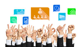 Set of hand gestures and icons Royalty Free Stock Images