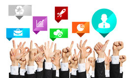 Set of hand gestures and icons Stock Photo