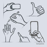 Set of hand gestures with smartphone and other Stock Photos