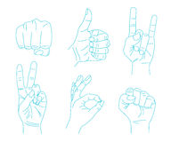 Set of Hand gestures. Royalty Free Stock Photography