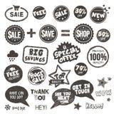 Set Hand gezeichnete Artabzeichen und -elemente Lizenzfreies Stockfoto