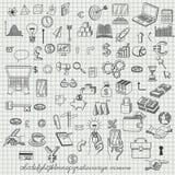 Set Hand gezeichnete Ikonen Stockfoto