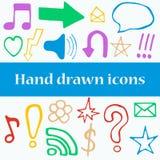 Set Hand gezeichnete Ikonen Stockbild
