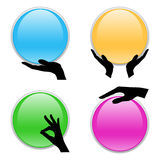 Set of hand holding 3D circle card Royalty Free Stock Image