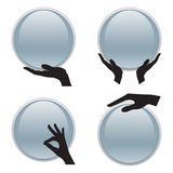 Set of hand holding 3D circle card Stock Photography