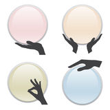 Set of hand holding 3D circle card Stock Photo