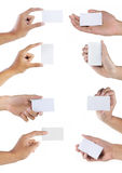 Set of hand holding blank business card stock image