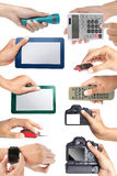 Set of hand holding electronic devices. Isolated over white background Stock Photography