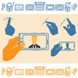 Set of Hand Holding Horizontally Mobile Phone With Man on Screen. Flat and Line Icons Stock Image
