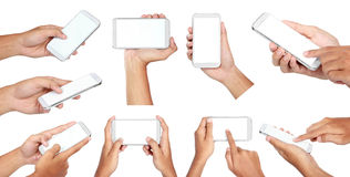 Set of hand holding mobile smart phone with blank screen. Isolated on white stock images