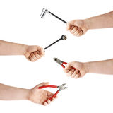 Set of hand holding a socket working tool, composition isolated over the white background Stock Photos