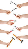 Set of hand holding a socket working tool, composition isolated over the white background Stock Photography