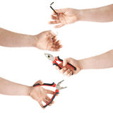Set of hand holding a working tool, composition isolated over the white background Royalty Free Stock Images