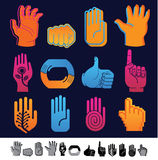 Set of 12 hand icons. Set of 12 icons with human hands silhouettes Royalty Free Stock Photos