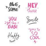 Set of hand lettered inspirational andd motivational quotes. stock image