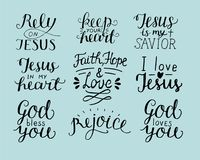 Set of 9 Hand lettering christian quotes God bless you. Rely on Jesus. Rejoice. Faith, hope, love. Keep your heart. Biblical background. Poster. Modern Royalty Free Stock Photos