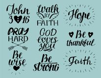 Set of 9 Hand lettering christian quotes God loves you. John3 16. Hope. Pray hard. Walk by faith. Be wise, thankful. Strong. Biblical background. Poster vector illustration
