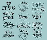 Set of 12 Hand lettering christian quotes I love Jesus. Grace. God bless you. Do good. Grow in Christ. Be anchored. Alleluia. Shin. E. Only believe. Biblical royalty free illustration