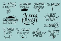Set of 11 Hand lettering christian quotes about Jesus Christ. Savior. Door. Good Shepherd. Way, truth, life. Alpha and Omega. Lamb. Of God. The vine. Light of royalty free illustration